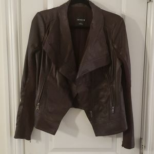 Trouve brown leather drape front collar jacket